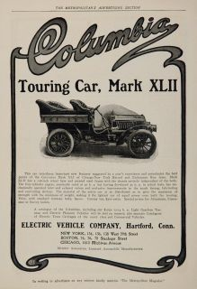 1904 Ad Vintage Electric Columbia Touring Car Mark XLII   ORIGINAL