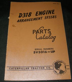 Cat Caterpillar D318 Diesel Engine Parts Manual 5V