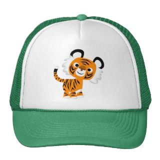 Niedlicher neugieriger Cartoon Tiger Hut Baseballkappen